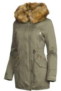 3 in 1 Damen Winter Jacke 100% Baumwolle Military Style, Farbe:Olive, Größe:S