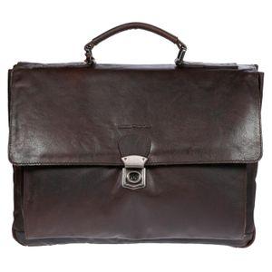 Christian Wippermann große Aktentasche Laptoptasche 15.6 Zoll aus echtem Leder mit RFID Schutz Braun