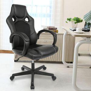 JEOBEST® Racing Chefsessel Bürostuhl Drehstuhl Gaming Stuhl Schreibtischstuhl ergonomischer Schwarz