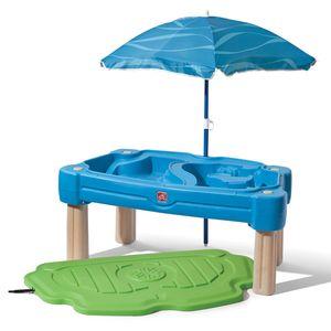 Step2 Cascading Cove Sand & Wassertisch mit Sonnenschirm | Wasserspieltisch für Kinder in Grün | Wasserspielzeug / Sandtisch für den Garten