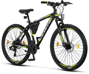 Licorne Bike Effect Premium Mountainbike - Fahrrad für Jungen, Mädchen, Herren und Damen - Shimano 21 Gang-Schaltung - Herrenrad, Farbe:Schwarz/Lime (2xDisc-Bremse), Zoll:27.50