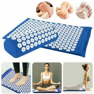 Miixia Blau Akupressur Set Nagelmatte Akupressurmatte Massagematte + Kissen Akupunktur Yogamatte