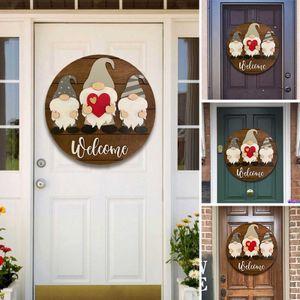 Frühling Gnome Türschilder Austauschbar Türhänger Willkommens Schild für Haustür Garten Party Geschenke B