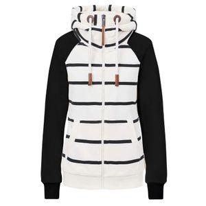 Damenmode Casual Stripe Print Reißverschluss Langarm Tasche loser Mantel Größe:L,Farbe:Schwarz