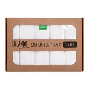 LULANDO Mullwindeln Mulltücher 80x80 cm Weiß. Waschbare Spucktücher aus 100% Baumwolle,  , Größe:5 pack