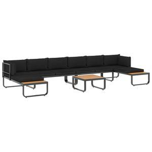 vidaXL 5-tlg. Garten-Ecksofa-Set mit Auflagen Aluminium und WPC