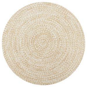 dereoir Teppich Handgefertigt Jute Weiß und Natur 120 cm