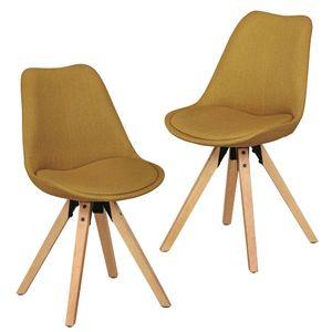 WOHNLING 2er Set Retro Esszimmerstuhl LIMA Curry Polsterstuhl Stoff-Bezug Rückenlehne Design Küchen-Stuhl gepolstert