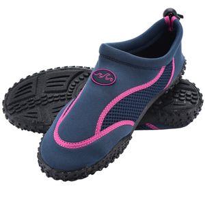 Badeschuhe Neoprenschuhe Gr 28-46 Wasserschuhe Surfschuhe Aquaschuhe Strand, Farbe:Damen Blau-Pink, Größe:36