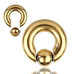 viva-adorno 5 x 16 x 8mm Piercing BCR Spring Ball Closure Ring Intimpiercing Klemmring Chirurgenstahl 316L Clip in Pop out  XXL gold Z553