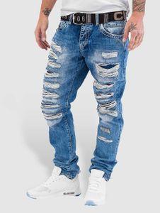 Cipo & Baxx Herren Straight Fit Jeans Destroyed in blau Cipo & Baxx