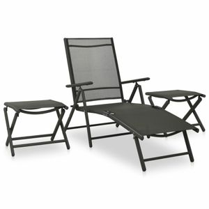 3-tlg. Garten-Lounge-Set Textilene und Aluminium Anthrazit