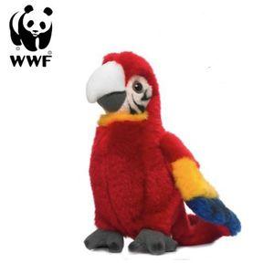 WWF Plüschtier Hellroter Ara Papagei (mit Sound, 14cm) lebensecht Kuscheltier Stofftier