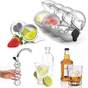 2 Stück Eiswürfelformen ,Whisky-Eisballform, 4-Loch Eisbox-Whisky Runde Eishockeyform, Kugel große Tablett-Whisky DIY-Form