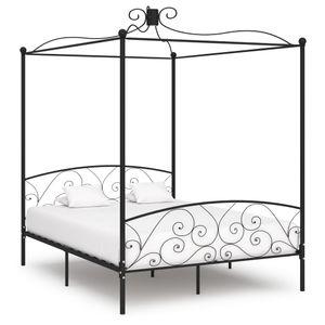 Modernem - Himmelbett-Gestell Bettgestell Schwarz Metall 180 x 200 cm - Doppelbett Designbett Jugendbett