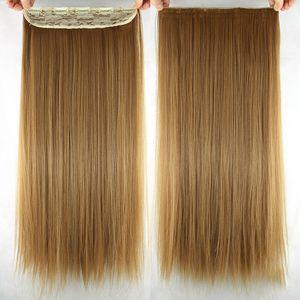 60cm Kunsthaar Clip In Extensions Gerade Lange Perücke Haar Haarverlängerung Haarteile Farbe : Rotblond