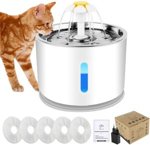 SPEED 2.4L Haustier Wasserspender mit 5 Filter Automatischer Trinkbrunnen Trinknapf