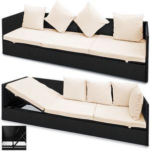 Casaria Poly Rattan Gartenliege Lounge 5-fach Verstellbar 7cm Auflage 4 Kissen Wetterfest Sonnenliege Gartenmöbel Schwarz