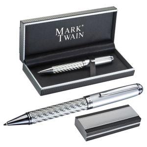 "hochwertiger Kugelschreiber ""Mark Twain"" / in silbernem Karbondesign"