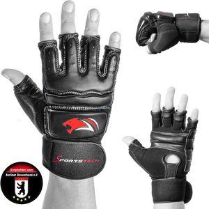 Sportstech BXM10 MMA Handschuhe für Kampfsport |für Damen und Herren | ideal für UFC, Freefight, Sparring, Kick-Boxing, Sandsack & Boxsack| mit extra starkem Schutz | hochwertige Qualität aus Leder
