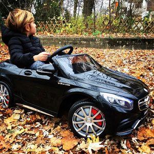 Mercedes-Benz S63 AMG Cabriolet Ride-On 12V Elektro Kinderauto elektrisch Kinder Elektroauto Kinderfahrzeug (Schwarz)