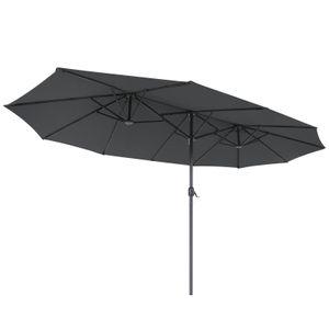 SONGMICS Doppelsonnenschirm 460 x 270 cm, extra großer Sonnenschirm, UV-Schutz bis UPF 50+, Gartenschirm, Terrassenschirm, mit Kurbel, ohne Ständer, grau GPU36GY
