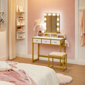 VASAGLE Schminktisch mit 10 LED-Glühbirnen und Hocker丨einstellbare Helligkeit 丨90 x 40 x 145,5 cm Frisiertisch Kosmetiktisch mit Spiegel丨modern weiß-goldfarben RVT014A10