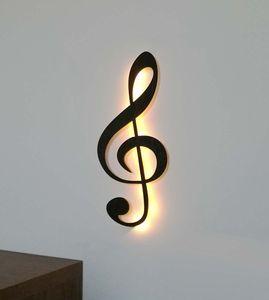 Wand Dekoration Note Musik (Holz) Wanddeko Wandschmuck Wandbeleuchtung, mit Led Licht, Schwarz lackiert