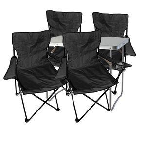 5-teiliges Campingmöbel Set Schwarz XL Tisch 80x60x68cm + Anglersessel
