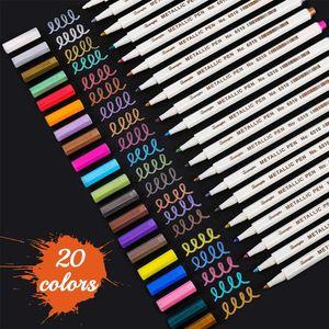 20x Farben Acrylstifte für Steine Bemalen Permanent Wasserfest Metallic Marker Marker Stift Acrylstifte Lackstift Diy