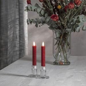 LED Stabkerze 'Flamme' - Echtwachs - warmweiße LED - H: 15cm - Timer - rot - 2er Set
