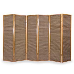 Homestyle4u 384, Paravent Raumteiler 6 teilig, Holz Bambus Braun