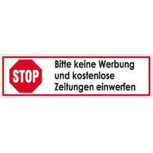 Aufkleber STOP Bitte keine Werbung und e Zeitungen einwerfen 2x7cm