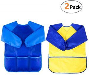 Malschürze Kinder 3-7 Jahre, 2er Malkittel/Bastelschürze/Langarm Kittel/Wasserdichter Schürze für Jungen und Mädchen (Blau+Gelb)