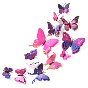 Oblique Unique 3D Schmetterlinge 12er Set Wandtattoo Wandsticker Wanddeko - pink-lila