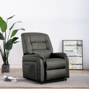 Moderne - Aufstehsessel Elektrischer TV-Sessel Loungesessel mit Aufstehhilfe Grau Kunstleder