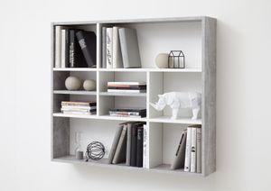 FMD furniture 269-001 Wandregal in Nachbildung Beton Light Atelier/Weiß, Maße ca. 90 x 78,5 x 16 cm (BxHxT)