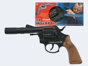 12-Sch Pistole Interpol 38 23cm Metall Plastik mit