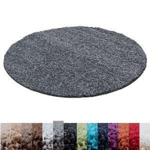 Hochflor Shaggy Langflor-Teppich Wohnzimmerteppich Soft Einfarbig in 14 Farben, Farbe:Grau, Grösse: Ø 120 cm Rund