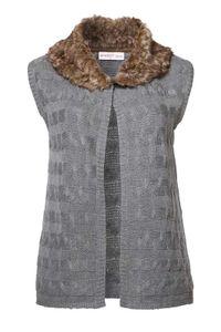 Sheego Damen Strickweste mit Webpelzkragen, grau, Größe:50