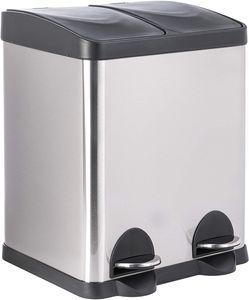 ONVAYA® Doppel Tretmülleimer Leo Edelstahl   30L Mülltrennsystem für die Küche   Duo Abfalleimer in Silber & schwarz   Müllbehälter 2X 15L