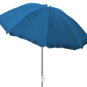 Sonnenschirm Strandschirm Schirm rund Ø180cm blau Polyester knickbar mit Volant
