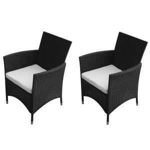 Gartenstühle 2er Set Garden Chair Esszimmerstühle Sessel | Garten Stapelstuhl Hochlehner Balkonstuhl Poly Rattan Schwarz - 4785