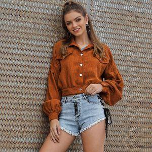 Mode Frauen Cord Jacke Solide Umlegekragen Langarm Casual Outwear Short Basic Coat Maentel BraunL