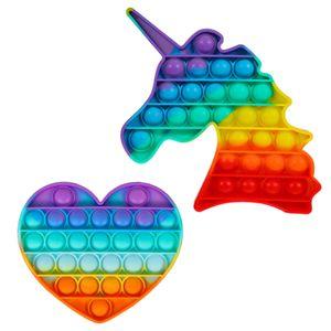 2X Push Pop It Pop Blase Sensorisches Zappeln Spielzeug Autismus Stressabbau Kinder Lernspielzeug(Herz + Einhorn)