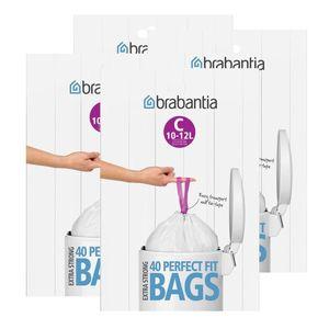Brabantia Müllbeutel Spenderverpackung (C) 10-12 Liter, 40 Mülltüten (4er Pack)