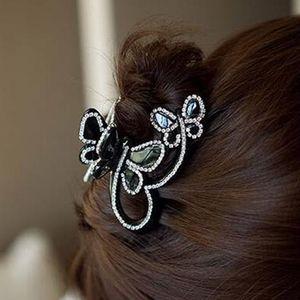 Haarkralle Hairclip mit Strass Schmetterling Haarklammer Haarspange Haarkrebs Schwarz Haarklaue 8x5,5 cm