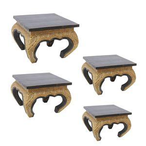 Opiumtisch Tisch Beistelltisch Massiv Holz Couchtisch Nachttisch Shishatisch, Farbe:Schwarz Gold Antik, Größe:40x40x35cm (LxBxH)