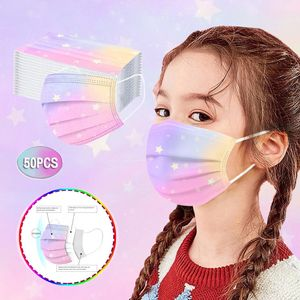 50Pc Kinder Tie Dye Gradient Printed Dreischichtige Staubdichte Einwegmaske