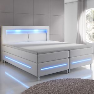 Juskys Boxspringbett Norfolk 180 x 200 cm – LED Beleuchtung, Bonell-Matratzen, Topper & Kunstleder – 66 cm Komforthöhe – weiß – Bett Doppelbett